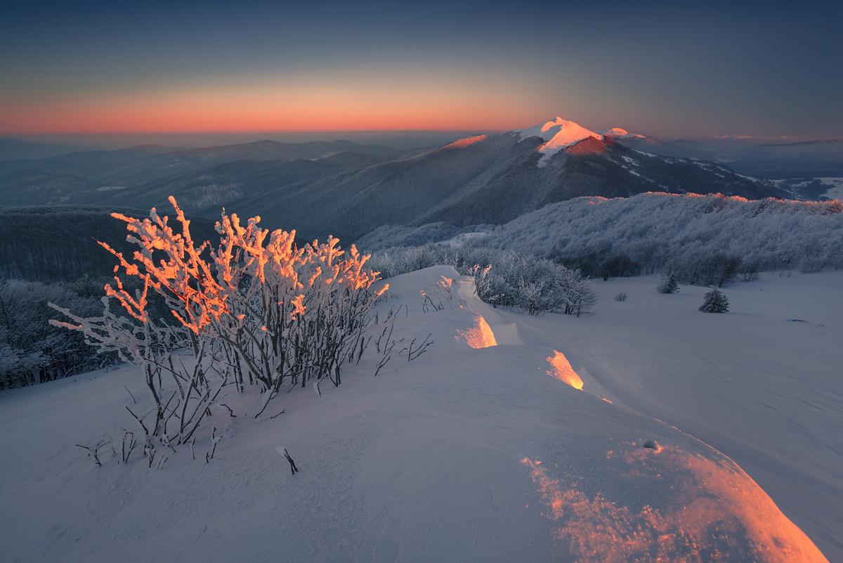 Zimowy zachód na Połoninie Wetlińskiej, temp. -25℃
