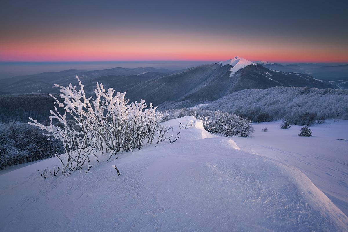 Zimowy wieczór na Połoninie Wetlińskiej, temp. -25℃