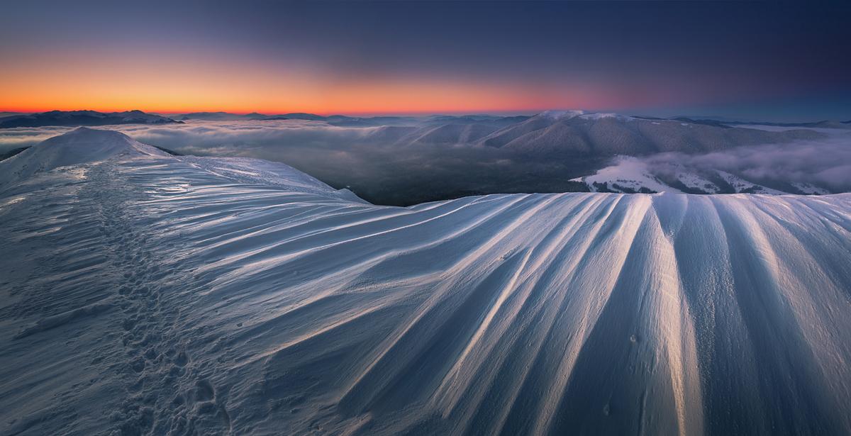 Zimowy poranek na Połoninie Caryńskiej, temp. -25℃