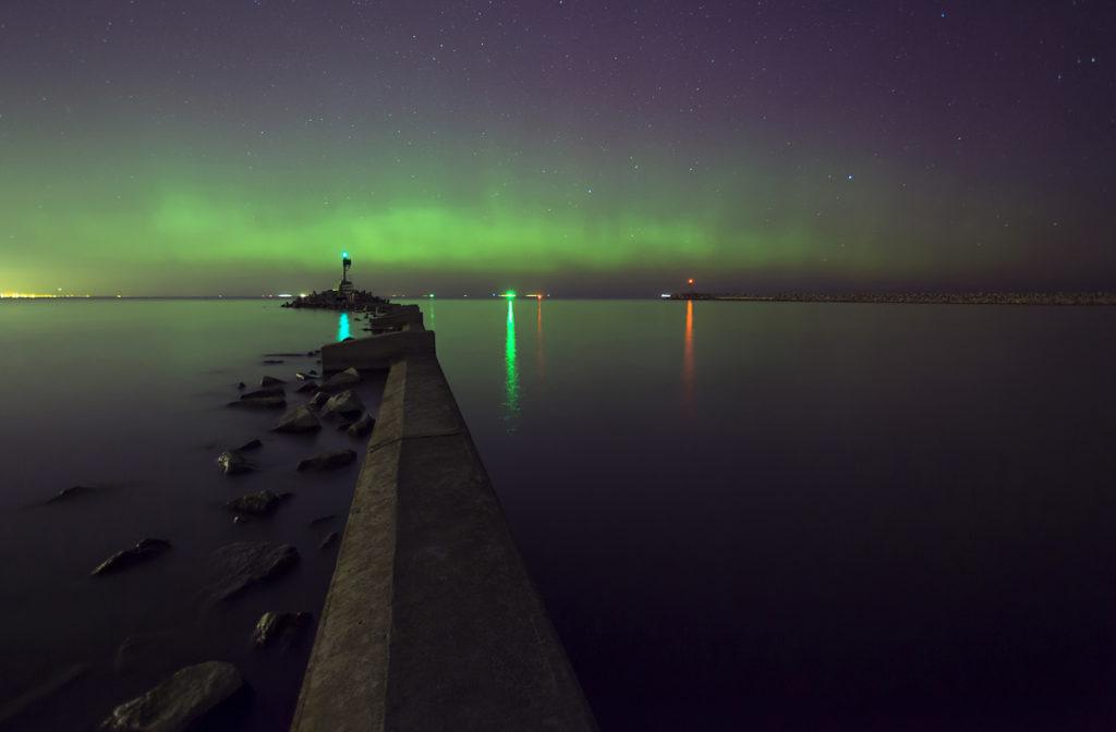 zorza polarna, krajobraz nocny, zorza polarna w Polsce Gdańsk