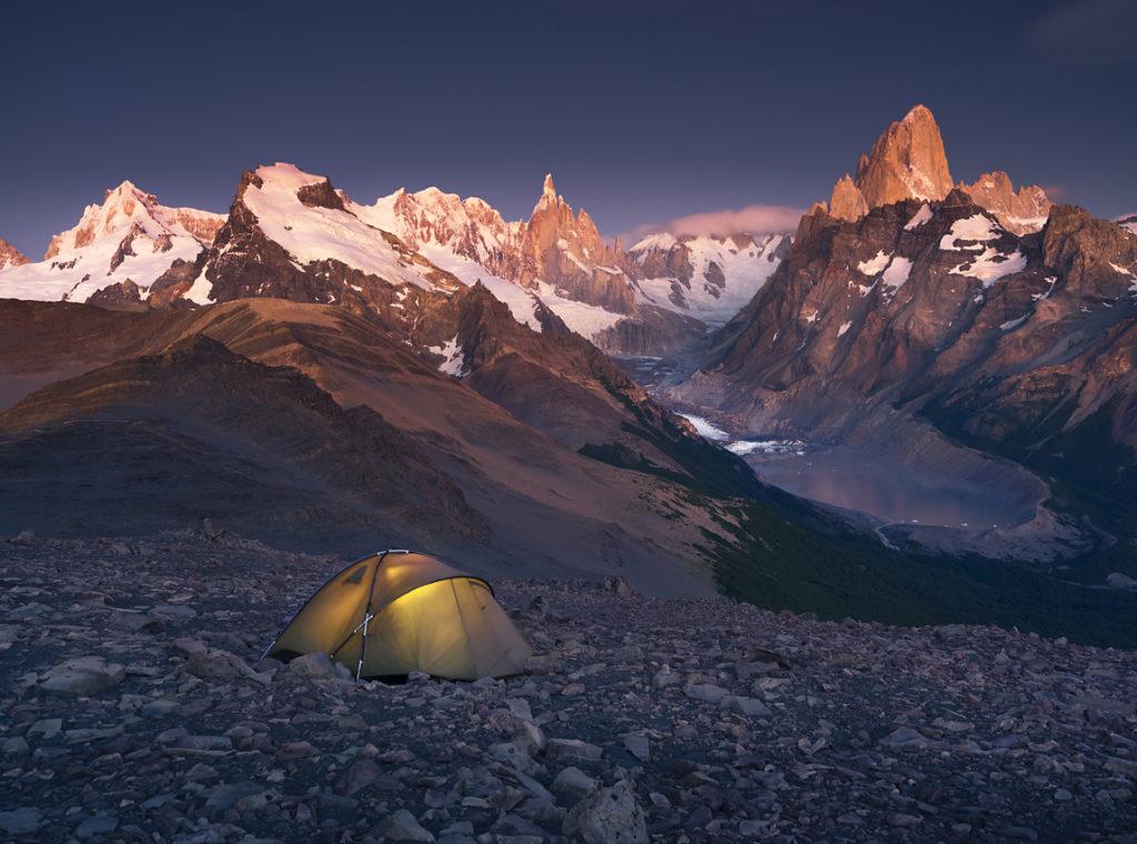 Patagonia, Fitz Roy, Biwak, wschód słońca w górach