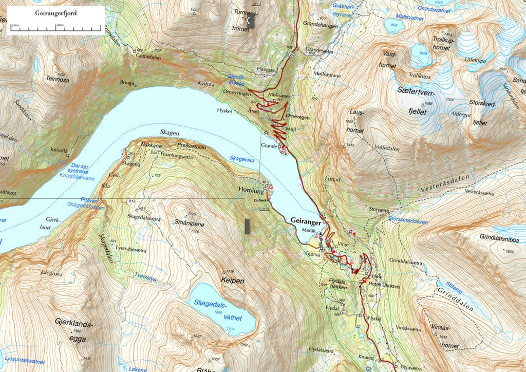 Geirangerfjord i Dalsnibba mapa