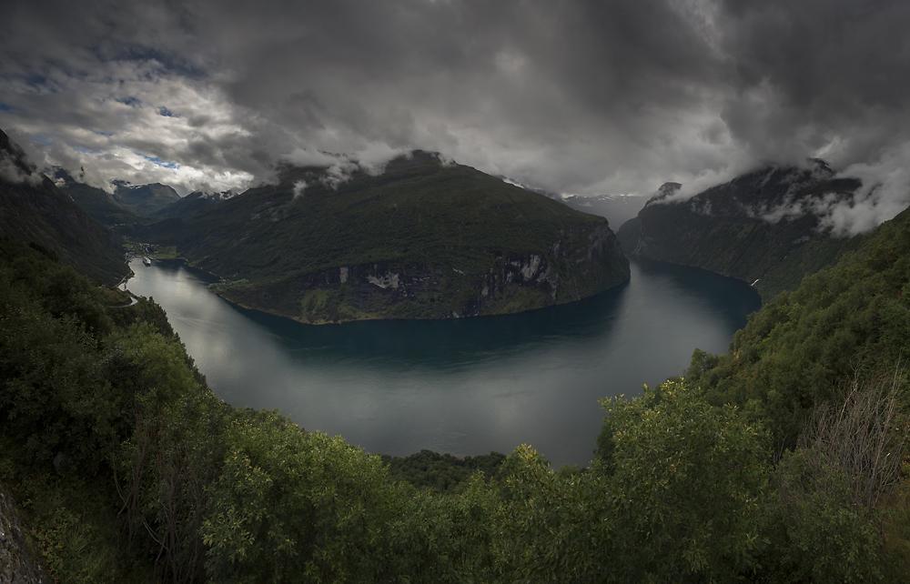 Geirangerfjord i Dalsnibba Norwegia