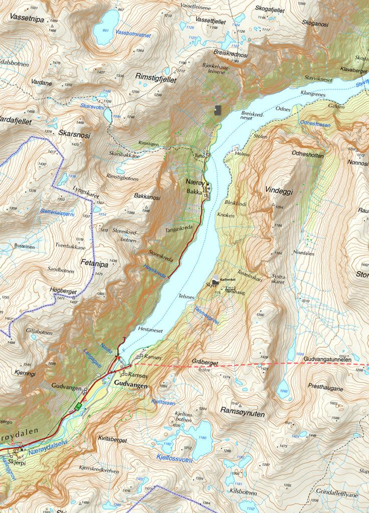 Norwegia Nærøyfjord Aurlandsfjord fiordy krajobraz, góry, woda, trekking, Flåm mapa