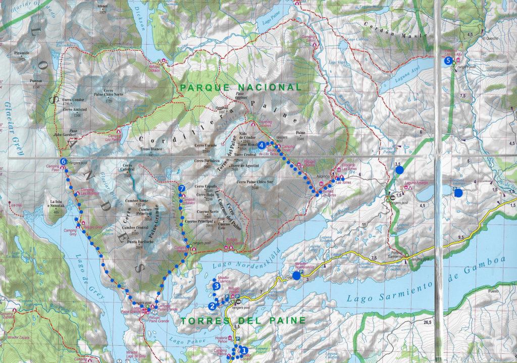 Park Narodowy Torres del Paine, góry, wschód słońca, Patagonia, Chile, Argentyna mapa