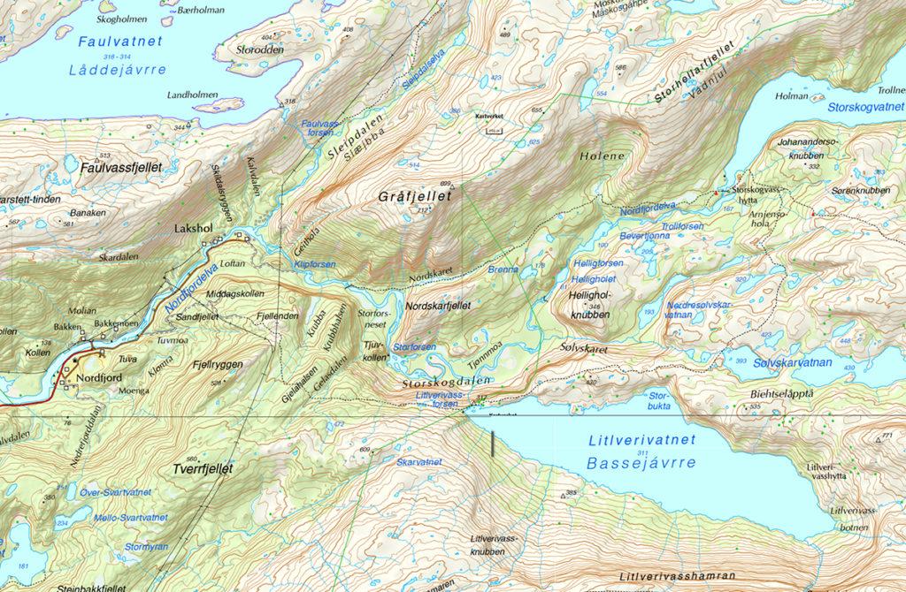 Norwegia Rago wodospad krajobraz mapa