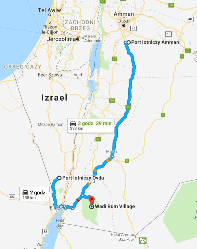 Wadi Rum Jordania drogi dojazdowe