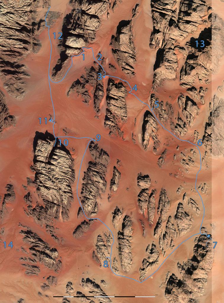 Wadi rum mapa pustyni desert map jordan jordania