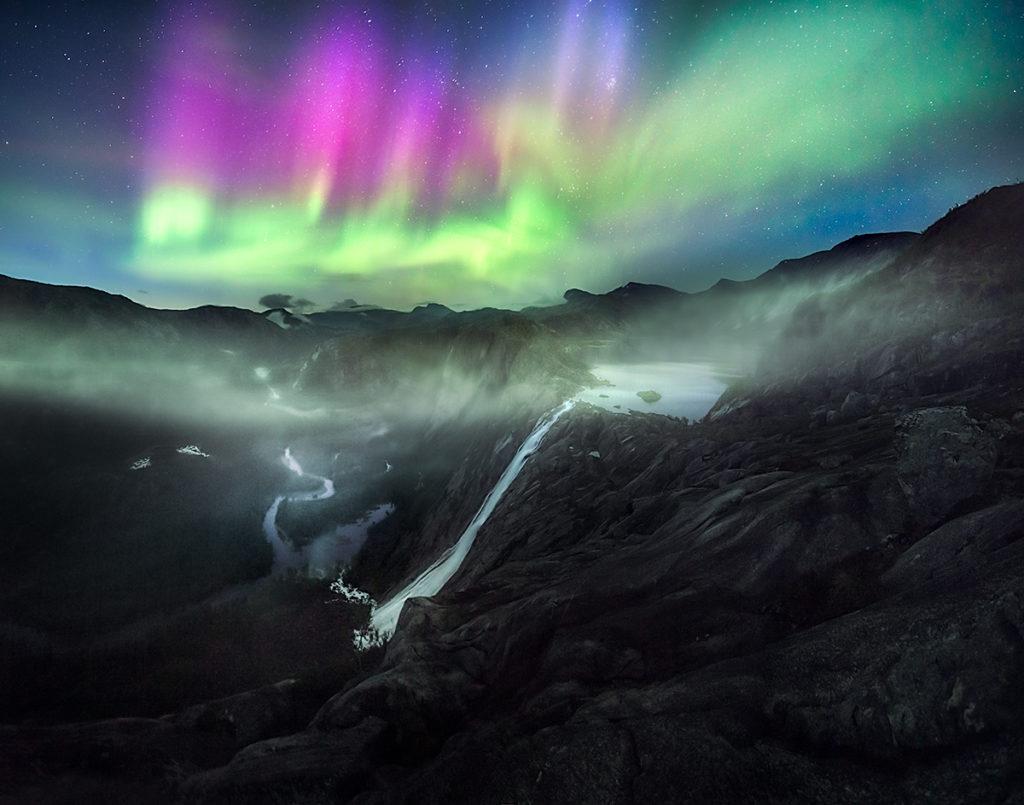 zorza polarna, krajobraz nocny, Norwegia
