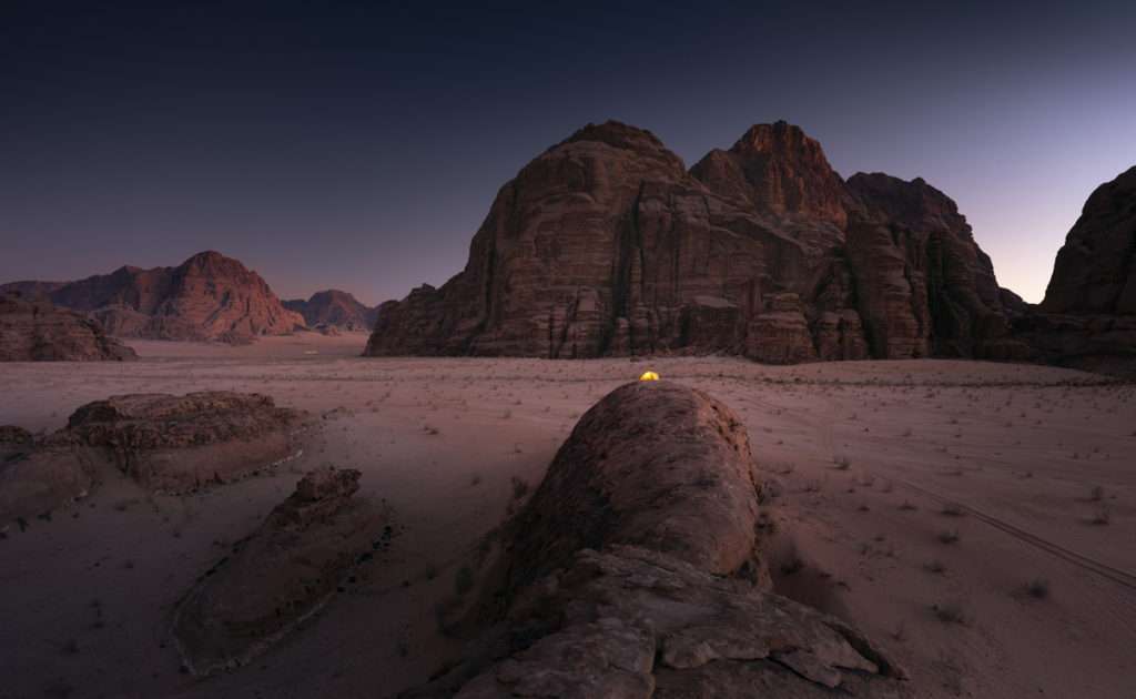 Wadi Rum pustynia Jordania biwak